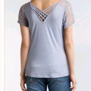 Moral Fiber • strappy back lace shoulder tee